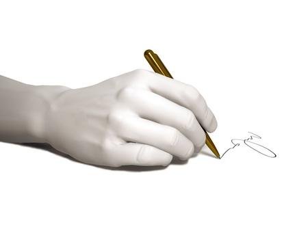 The hand writes on a white background Stockfoto