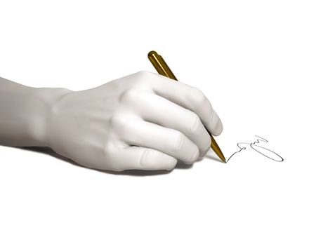 The hand writes on a white background Standard-Bild