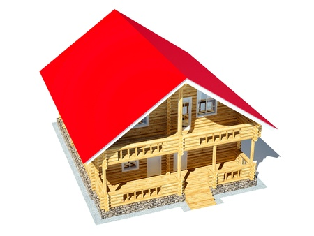 Log house with a red roof on a white background