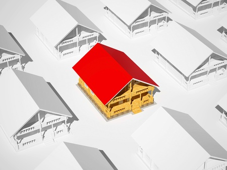 Log house with a red roof in the middle of white log houses