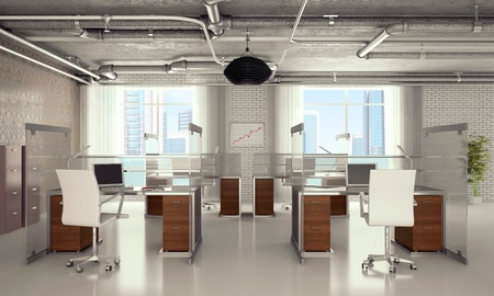 Tables and chairs at office with pipes on a ceiling