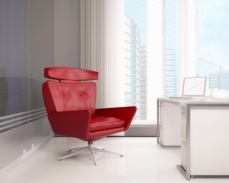 Office interior with a red armchair Stockfoto