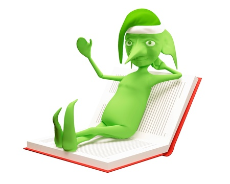 The green elf lies on the opened book