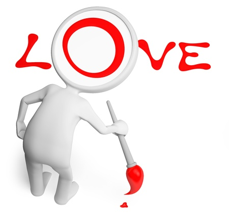 The man drew with paint a word love
