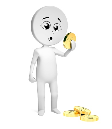 The man holds a gold coin in a hand