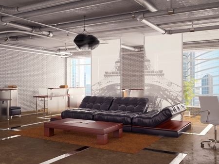 Black sofa at office with pipes on a ceiling