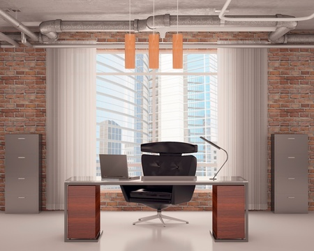 Black armchair and table at office with pipes on a ceiling Standard-Bild