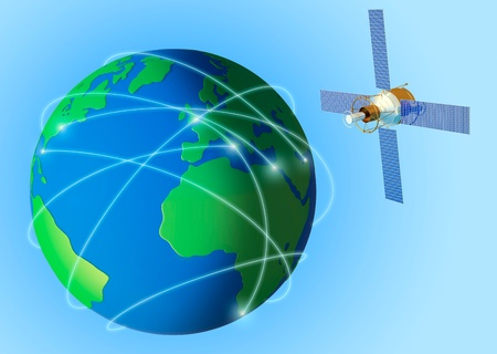 Planet Earth with threads of communication and the satellite in space