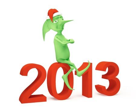 Green elf on the figures 2013 Stockfoto