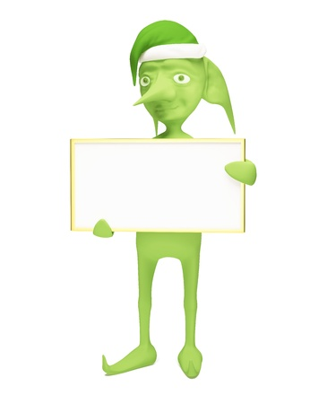 The green elf holds the empty board