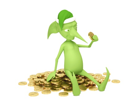 The green elf on the mountain from gold coins photo