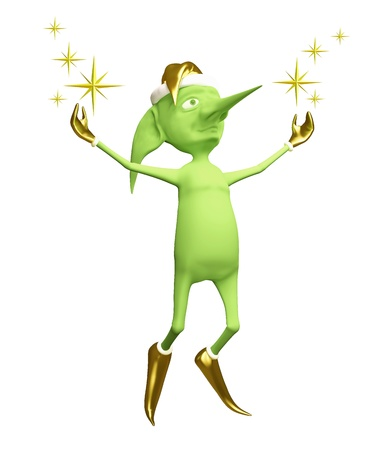 The green elf jumps using magic Stock Photo - 13639128