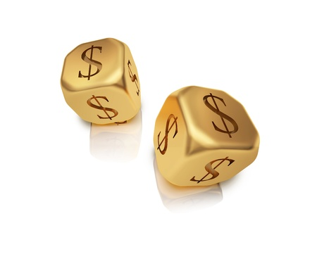 Gold dice with a dollar symbol on a white background