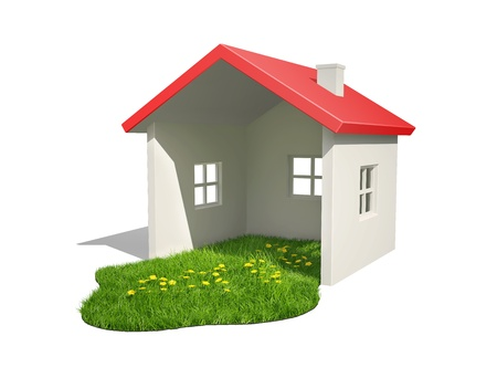 Green grass in the house with a red roof, on a white background Stockfoto