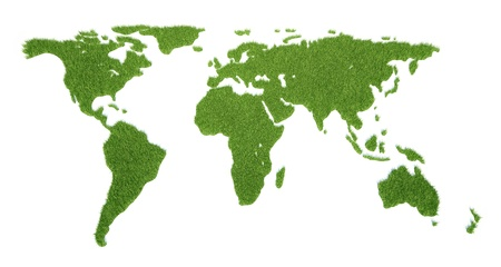 The world card consisting of a green grass Stockfoto