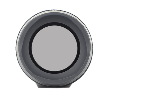 Loudspeaker of portable acoustics. Isolated on a white background.