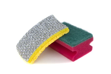 New sponges for washing of ware isolated on a white background.