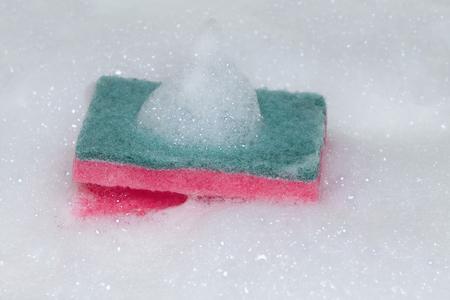 Scouring pad or Scourer with foam. Banco de Imagens