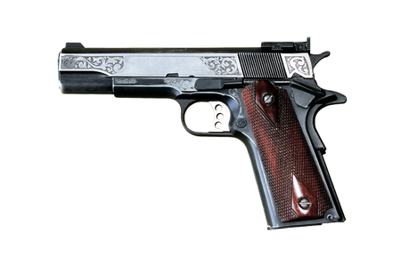 45 caliber: Government Model .45 Automatic Caliber Pistol on white background
