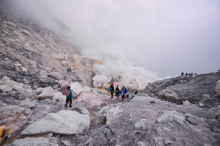 sulfur: Sulfur miner working at Ijen crater