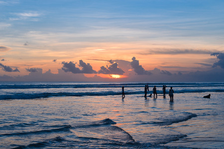 kuta: Sunset at Kuta beach Stock Photo