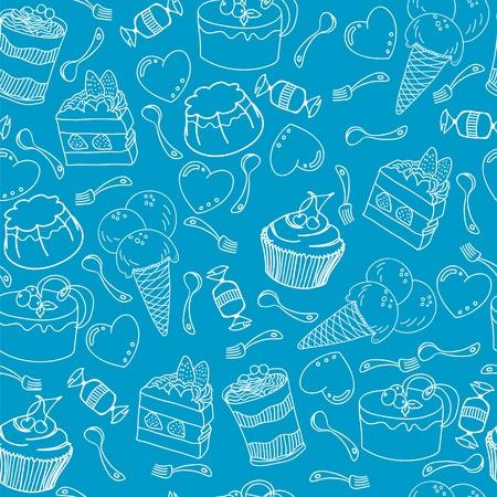 젤리: Seamless pattern with variety of desserts and hearts, spoons, forks 일러스트
