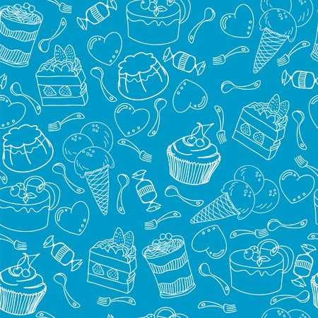 Seamless pattern with variety of desserts and hearts, spoons, forks Illustration