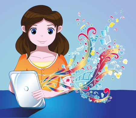 Young cute girl explore the world of tablet ps Illustration