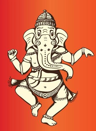 gentillesse: Dieu hindou de la sagesse Ganesha en forme, calme et paisible de danse Illustration