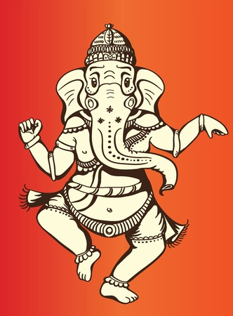 Hindu God of wisdom Ganesha in dancing form, peaceful and calm Stock Vector - 9708091