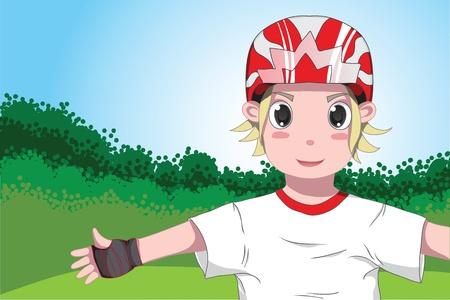 blonde boy: Blonde boy in helmet and protective gear Illustration