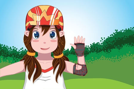 gir: Cute ponytail gir in helmet and protection  with hand up