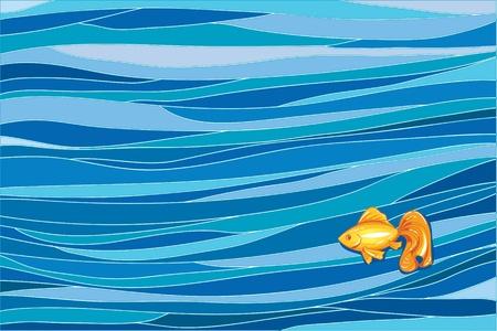 Little goldfish in deep ocean Vector