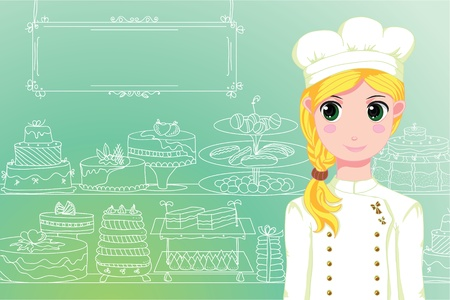 Cute chef in front of shop