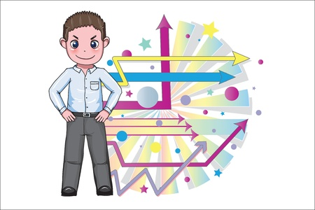 optimistic: Proud and optimistic young businessman  Illustration