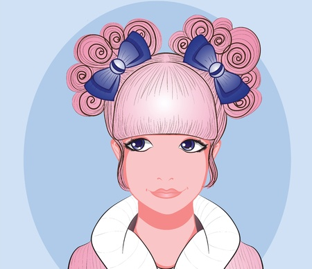 Cute young lady with fantasy ribbon hairstyle
