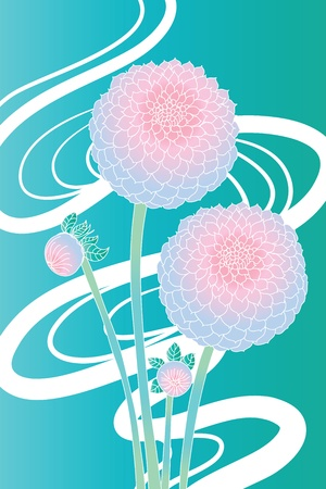 Simple background with stylized flowers and buds