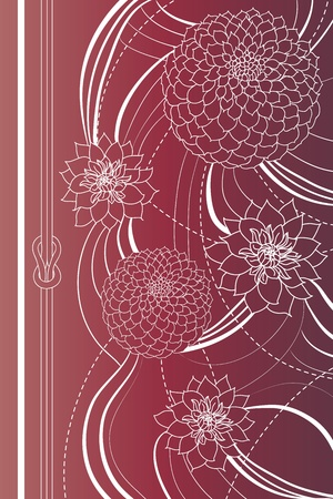 dahlia flower: Simple background with stylized flowers and a little knot