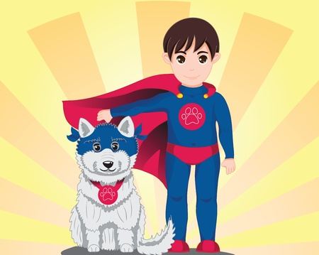 Boy dressed like a Superman and his dog, funny dressed too Vector
