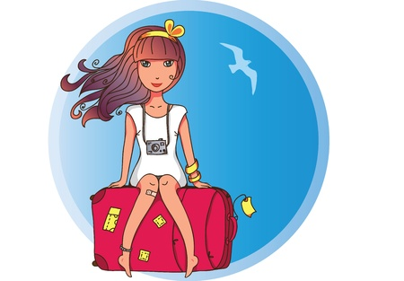 Nice girl sitting on a suitcase Stock Vector - 9931997
