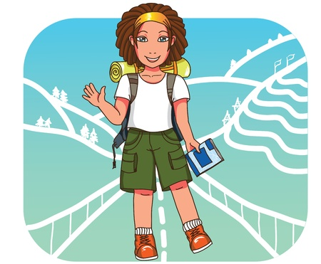 hiking boots: Cute cheerful tourist with dreads, rucksack  and guide book traveling around Asia Illustration