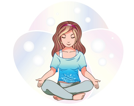 Cute girl practicing meditation (beginner)