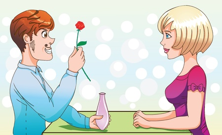 vases: Couple in cafe - declaration of love