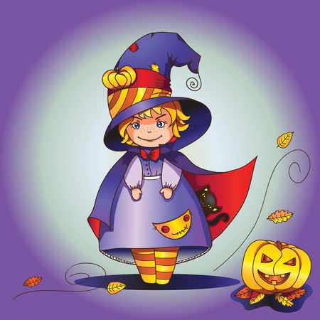 costume party: Young  girl dressed like a witch