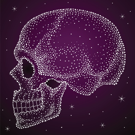 Skull from shiny dots, very nice with lacquer print Illustration