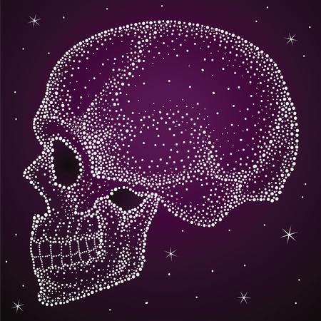 Skull da puntini brillanti, molto bello con stampa lacca