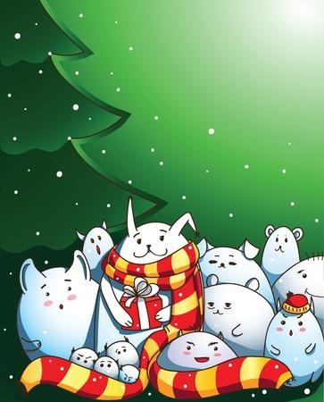 Magic creatures congratulate you with Merry Christmas! Vector