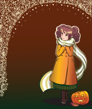 late autumn: Anime style girl in coat in autumn colors - frame can be used separately