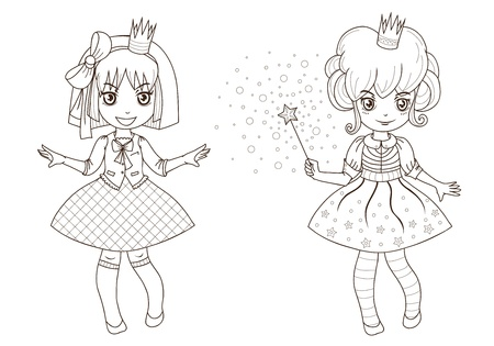 autumn colouring: Fairy tale princesses for coloring book  - outline