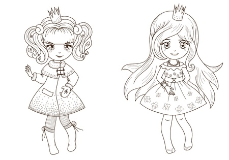 little girl: Fairy tale princesses for coloring  book - outline